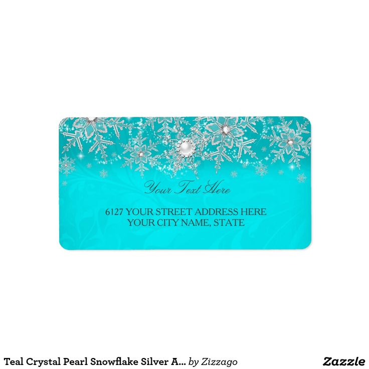 Teal Crystal Pearl Snowflake Silver Address Label