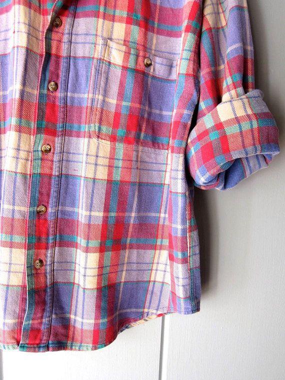 80er Jahre kariertes Flanellhemd herbstliche übergroße weicher