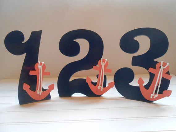 Cute In Navy & Pink ❤️ Table Numbers - Nautical Wedding Shower Decor - Navy and Coral Decor - Numbers For Tables - Wedding Decor on Etsy