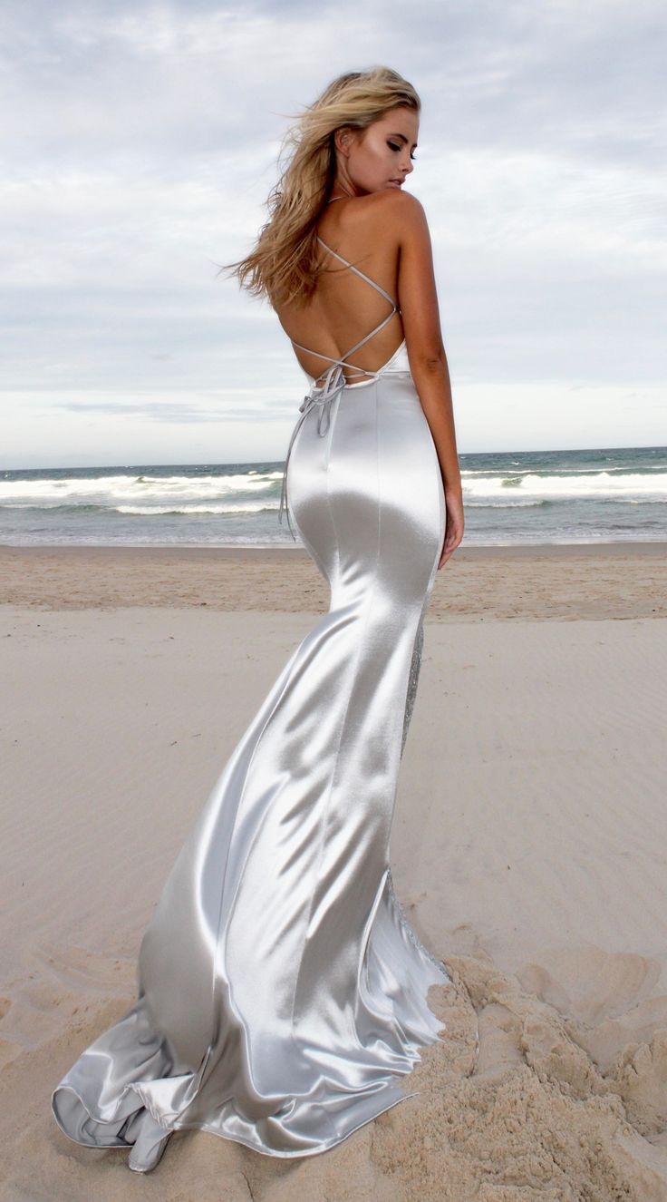 Silver Desire backless prom/ formal dress by STUDIO MINC