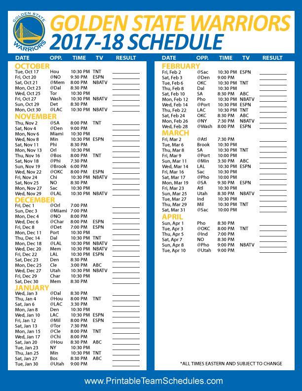Golden State Warriors NBA Regular Season Printable Schedule 2017-18