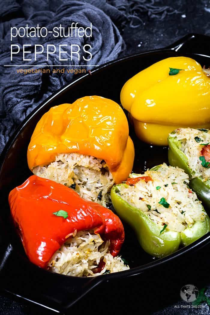 Vegan Stuffed Bell Peppers With Potatoes Video All That S Jas Recipe In 2020 Stuffed Peppers Vegan Main Dishes Vegetarian Vegan Recipes