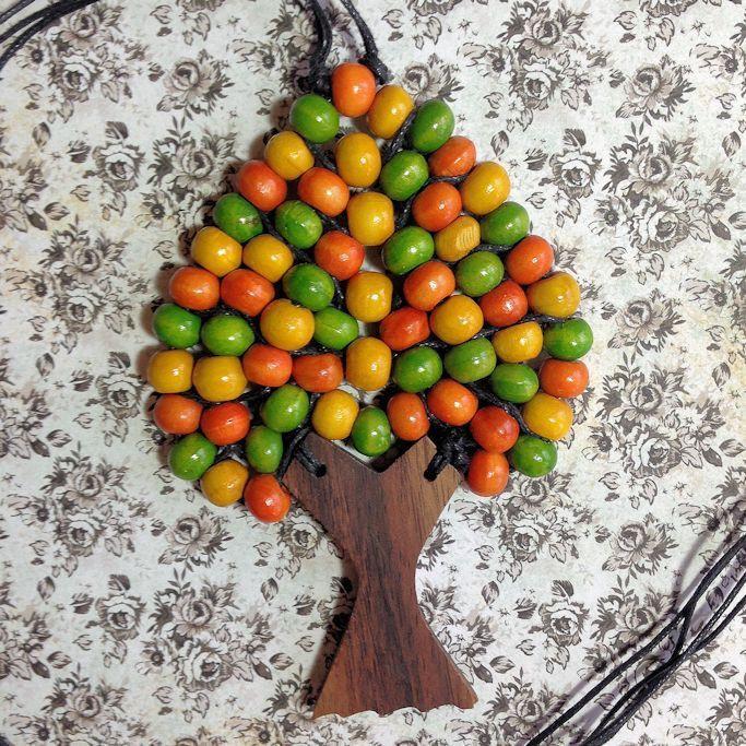 Tree Bead Necklace Citrus Teardrop
