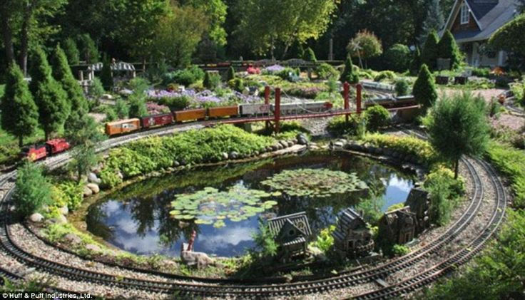 Durable: There are many water features in Silets' gardens. The trains that chug over and around them run all year round