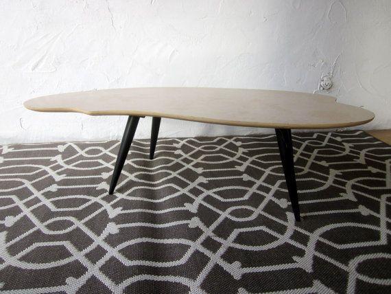 mid century modern retro amoeba boomerang table by