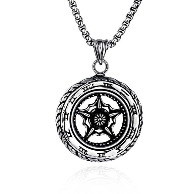 Личность колесо ожерелье для человека панк стиль из нержавеющей стали мужские украшения ожерелья Valentines' подарок