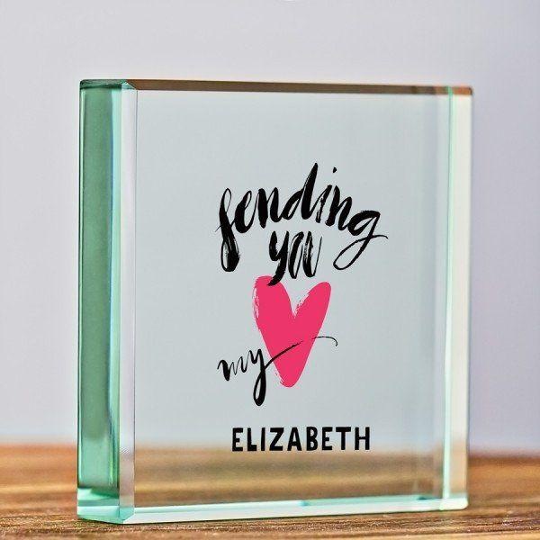 Sending You My Heart Personalised Glass Keepsake Diy Handmade