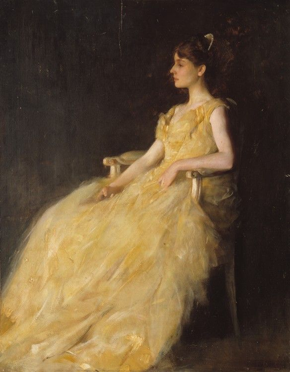 Lady in Yellow, 1888, Thomas Wilmer Dewing, American, 1851-1938, Oil on wood…