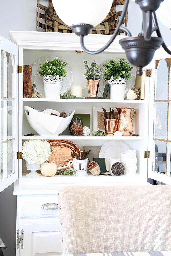 How to Style a Dining Room Hutch   JustAGirlAndHerBlog.com