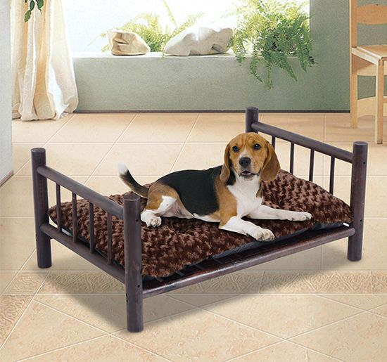 Large Wooden Dog Bed Couch Pet Furniture Raised Cat Cot Indoor Outdoor w/Cushion | Pet Supplies, Dog Supplies, Beds | eBay!