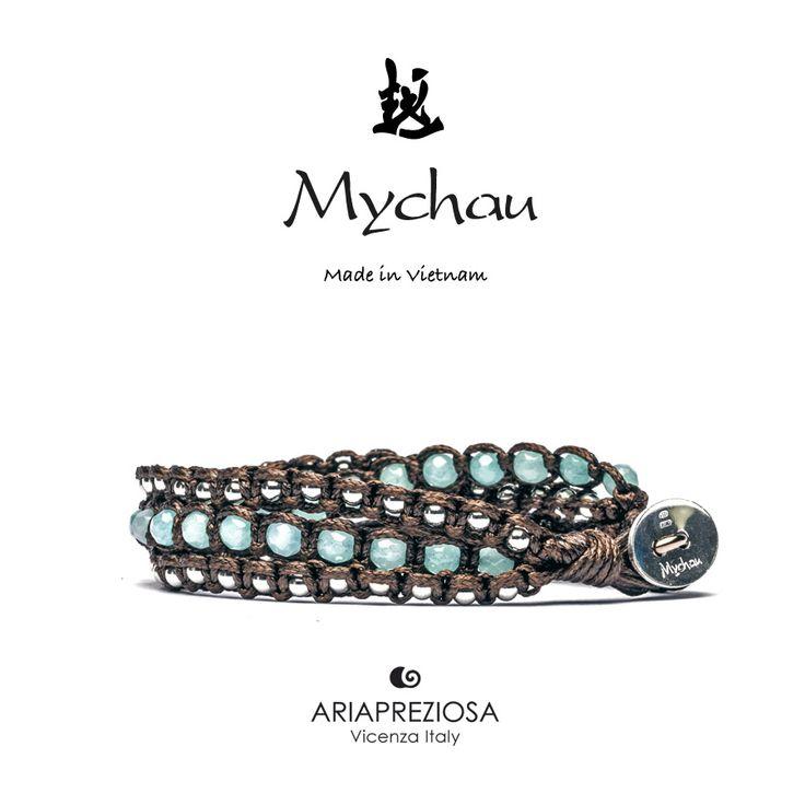 Mychau 2+1 - Bracciale Vietnam originale realizzato con pietre naturali Agata Azzurra