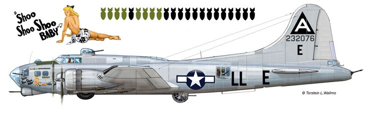 "Boeing B-17G (35-BO) Flying Fortress ""Shoo Shoo Shoo BABY"" - Serial № 42-32076 USAAF 91BG, 401BS, Bassingbourn, Stn 121.1944"