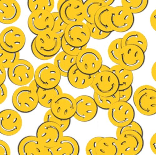 Yellow Smiley Faces Confetti - emoji party decorations