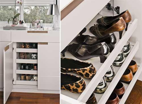 Boas idéias para guardar sapatos - Casa