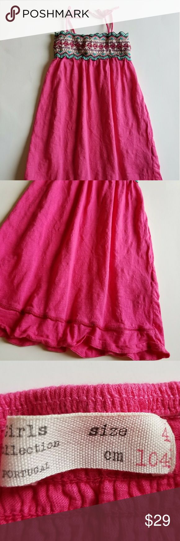 """ZARA Girls size 4 Pink Sundress DressSMOCKED ZARA Girls size 4 Pink Sundress Dress SMOCKED Beaded Embroidered Sleeveless 23"""" long Excellent clean condition. No flaws Non smoking home Zara Dresses Casual"""