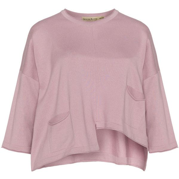 Isolde Roth Dusky-Pink Plus Size Cropped asymmetric hem jumper ($66) ❤ liked on Polyvore featuring tops, sweaters, plus size, loose crop top, plus size sweaters, crop top, pastel pink sweater and pastel sweaters