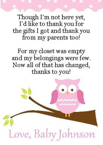 2 Adorable Owl Baby Shower Thank You Cards | EBay