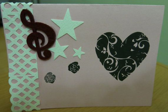 Handmade Card Stamped with Heart Gift card by mindyourpeasandqs