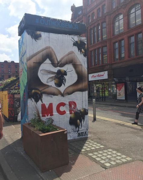 Stumbled across this beautiful work in the NQ earlier. We love you Manchester 🐝