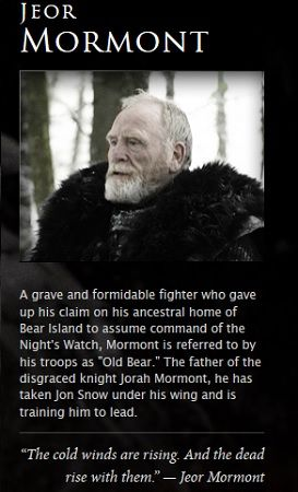 Jeor Mormont. oh my god. I never made the connection that Joer and Jorah are father and son. I feel slow now.