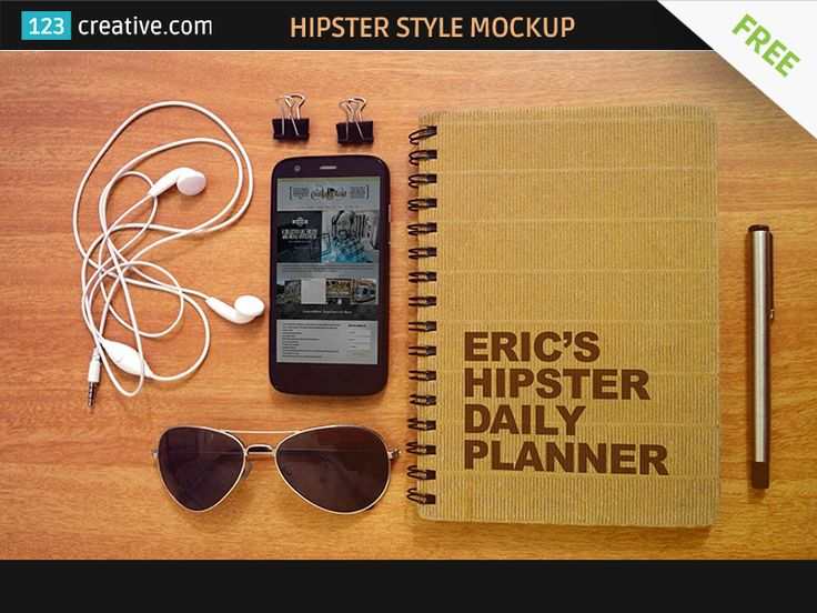 ► FREE HIPSTER STYLE MOCKUP TEMPLATE - high resolution hipster lifestyle acessories, hip style mockup with phone, notepad, retro sunglasses, headphones, paperclips: http://www.123creative.com/graphic-design-resources-product-mockup-templates/1147-free-hipster-style-mockup-template.html