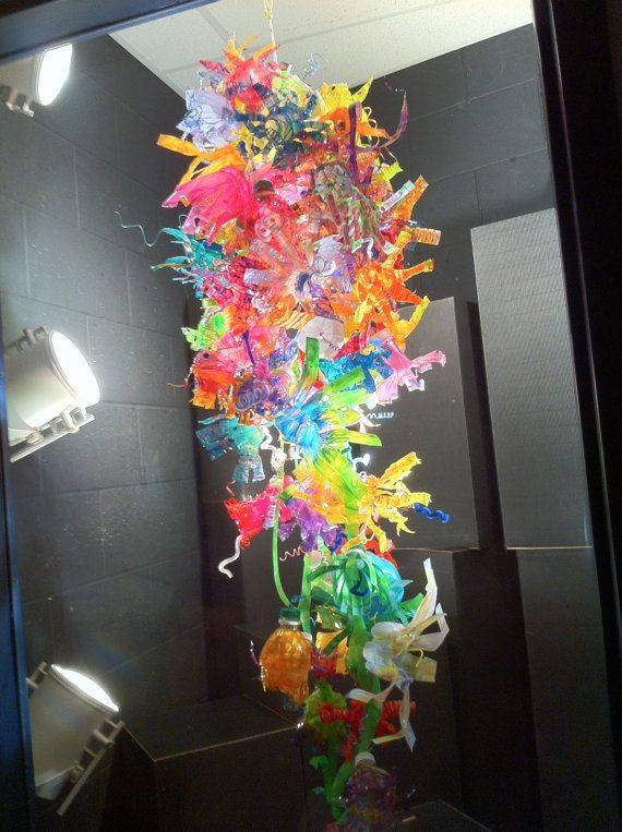 102 best images about rainbow party on pinterest for Plastic chandeliers for parties