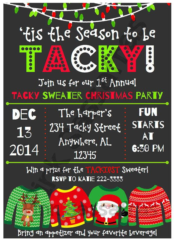 So precious for a fun Tacky Sweater Christmas party! Listing is for a PDF file with two 5 x 7 invitations per page. You can easily print at home