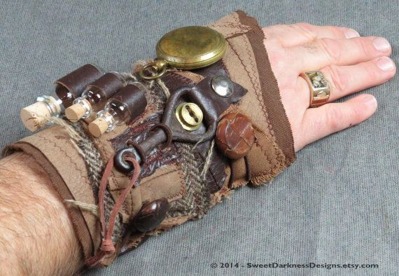 POST APOCALYPTIC Wrist Cuff, STeamPunK Cuff, SurVival Cuff, UTILiCuff, Leather Cuff, APOTHECARY Wrist Cuff,Brass Compass,Vintage Bottle