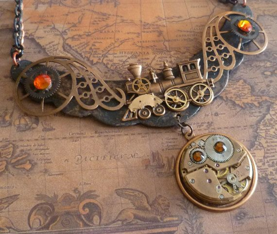 Steampunk Steam Train Necklace in Black and Copper. $45.00, via Etsy.