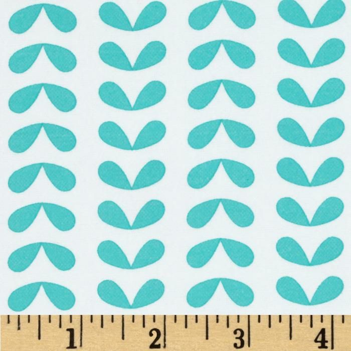Moda Ticklish Flannel Leaves In Line Tipsy Turquoise Fabric Uk