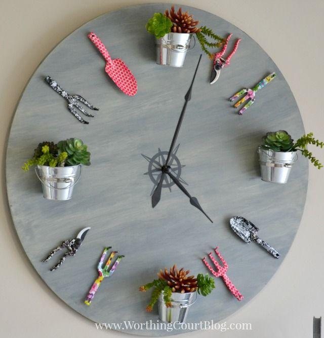 #Horloge avec décors de #jardin / How to make a faux #garden #clock