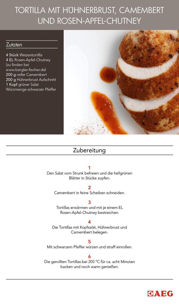 """Das ist das Flavour-Pairing-Rezept: """"Tortilla mit Hühnerbrust, Camembert und Rosen-Apfel-Chutney"""". #FlavourPairing hat es sich zur Aufgabe gemacht wissenschaftlich zu erklären, welche Aromen am besten harmonieren. So entstehen neuartige und ungeahnte Pairing-Optionen."""