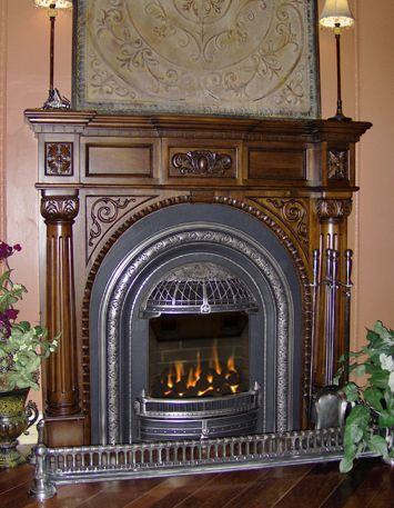 Valor Adorn Victorian Era fireplace at the Victorian Fireplace Shop. http://www.gascoals.com/GASFires/GasFireplaces/WINDSORBvent.aspx#