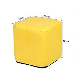 UUSSHOP Square Wooden Upholstered Footstool Footrest Ottoman Pouffe Chair Foot Stool Cube Seat with PU Leather Cover ( Yellow )