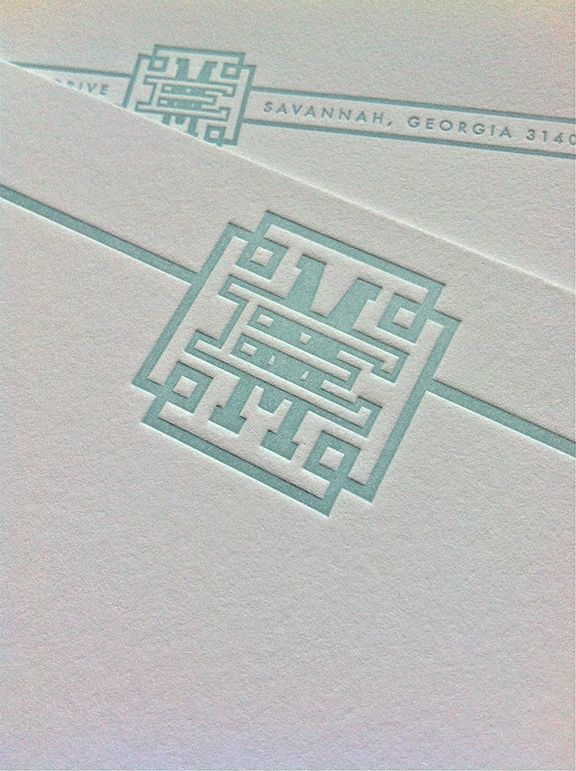 Fretwork Greek Key Monogram Design EM  Savannah Designer, Emily McCarthy: Custom Monogram Design