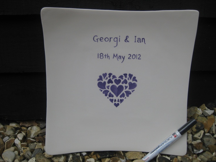 Handpainted ceramic personalised wedding plate for guest signatures