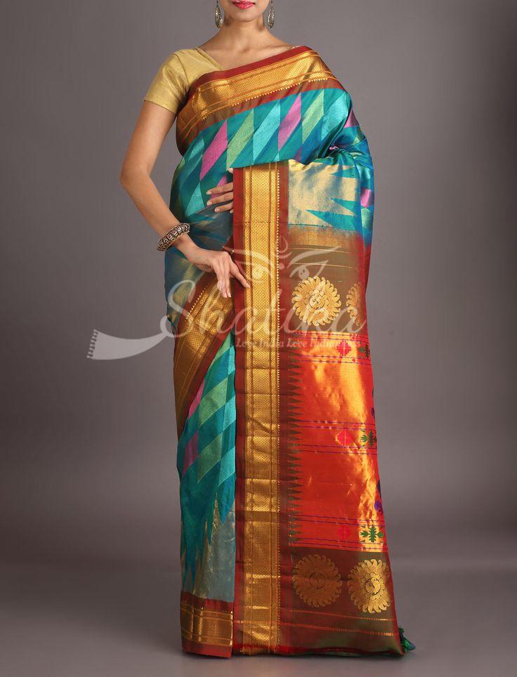 Rachna Kaleidoscopic Colors Oblique Border Designer #PaithaniSilkSaree