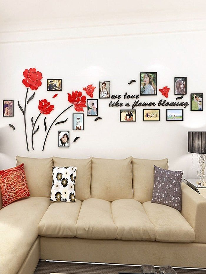 Flower Butterfly Photo Frame Removable Wall Sticker Wall Stickers Living Room Living Room Interior Interior Design Living Room #stickers #for #living #room