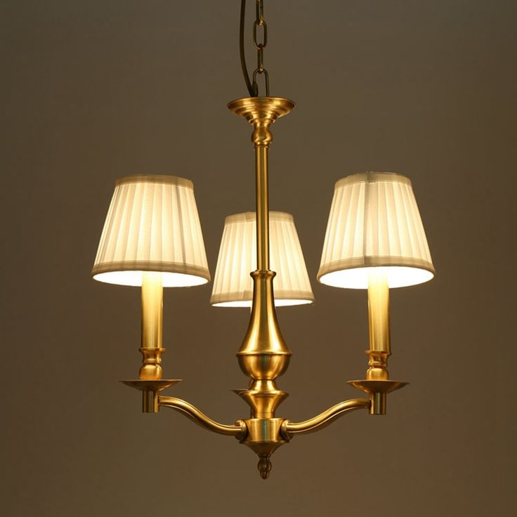 188.25$  Buy here  - 3 Arms copper European LED chandelier light suspension lighting country bronze hanging lamp E14 LED lamp AC220V warm white 3000K