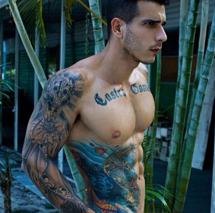 Colorful Tattoos On Chest, Right Arm And Side