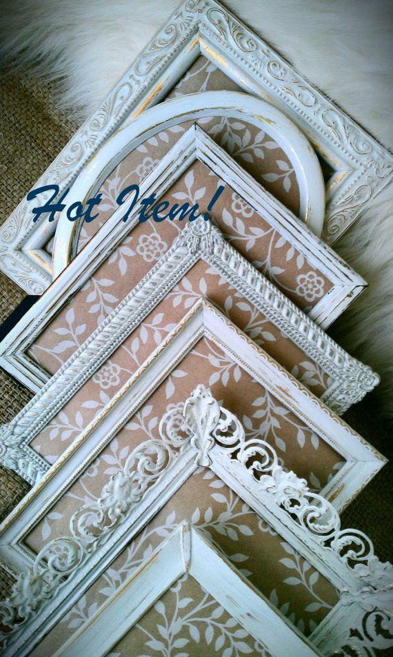 Vintage Frames  Hand Painted Frames White by ColoristicSensation