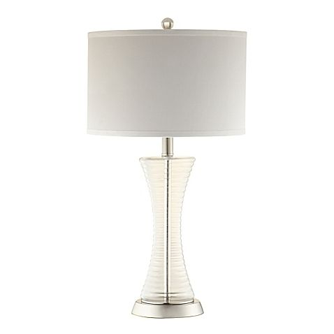 the verona home tasha ribbed glass table lamp features a clear slim silhouette that adds