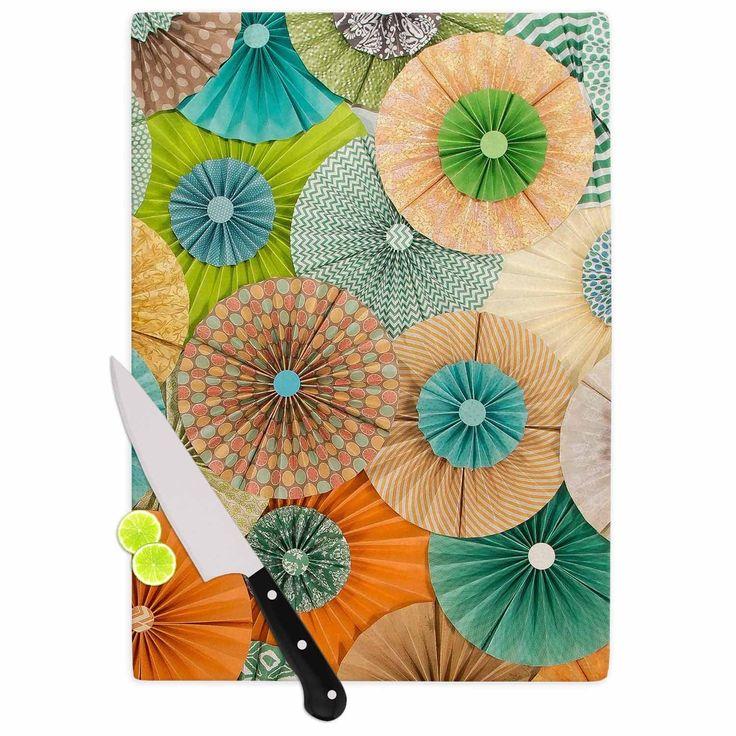 Kess InHouse Heidi Jennings 'Summer Party' Teal Orange Cutting Board