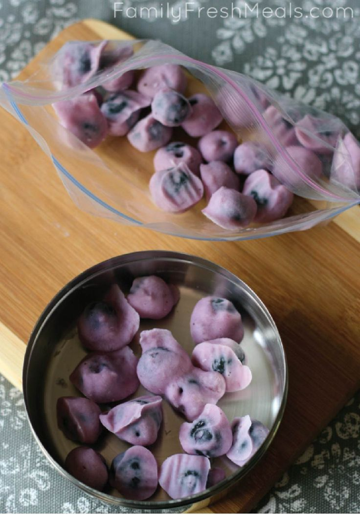 Need a fast snack that can be prepared ahead of time? Look no further than frozen yogurt covered blueberries. Yummo!