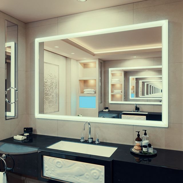Whether You Want To Mount A Lighted Mirror Vertically Or Horizontally Our Lighted Mirrors Can Be Placed In Any Space They Are Ma Mirror With Lights Dressing Mirror Mirror