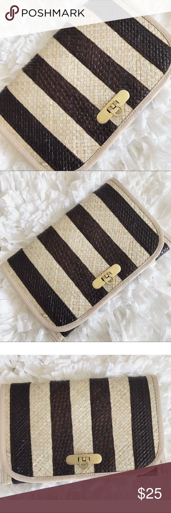 "Vintage Straw Striped Clutch Vintage, cream/dark brown, striped clutch with gold-tone front closure. Features cream, faux leather trim around edges of bag. In great condition. There are a few minor marks on the front trim (see photos). The straw surface is in excellent condition (no tears/snags/marks). Interior in excellent condition. 11""L x 7""H x 1/2""W. Photos are included of any imperfections. I only sell vintage in good condition. Please ask questions/request additional photos prior to…"