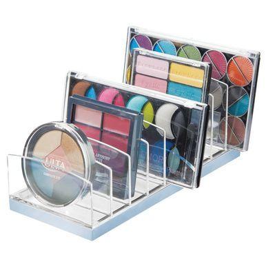 mDesign 9 Section Makeup Tray Holder Vanity Desk Organizer, Light Gray/Charcoal, 3.9″ x 9.25″ x 3.6″