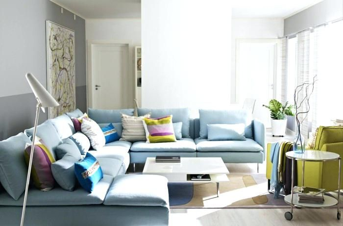 Light Blue Sofa Sofa Blue Light Blue Coloured Cushion Of Green Chair Neutral Walls Light Blue Sofa Living Room Ideas Wohnen Blaues Sofa Diy Mobel Bauen
