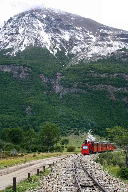 The train of the End of the World, in Ushuaia, Argentina. ...
