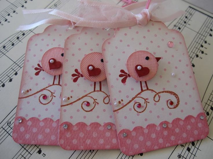https://flic.kr/p/8BviAw | Sweet n Cute Pink Birdie Tags | Handmade by me. TFL :)